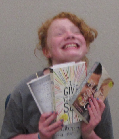 Excited about the books she won