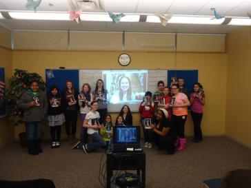 Marissa Skypes with my teen book club-The Hardcover Society